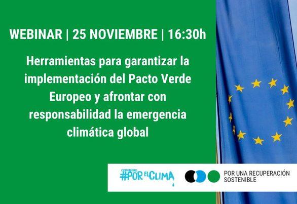 Webinar sobre Herramientas para garantizar la implementación del Pacto Verde Europeo (25 noviembre)
