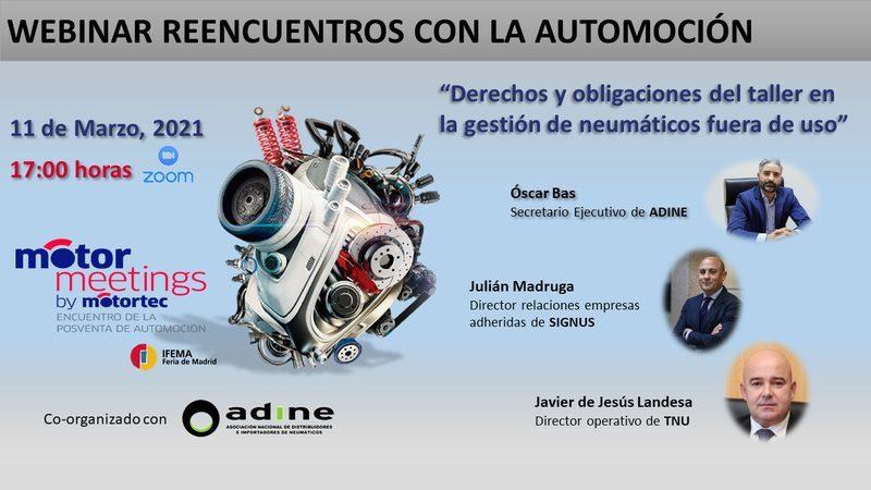 """Webinar: """"Derechos y obligaciones del taller en la gestión de neumáticos fuera de uso"""" (11 marzo)"""