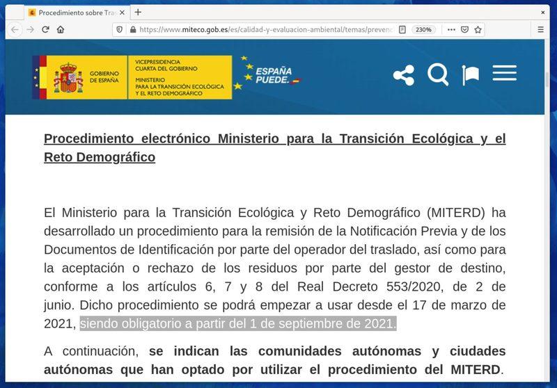 Importante: el MITERD retrasa hasta el 1 de septiembre la fecha de obligatoriedad de uso de la plataforma e-SIR